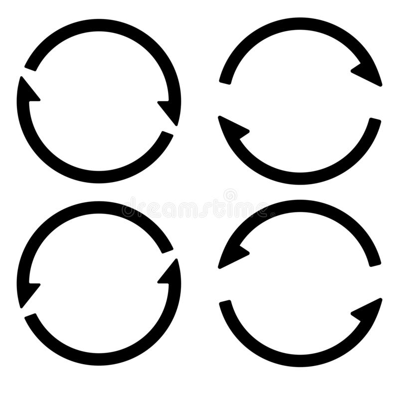 Set sign reload refresh icon, spinning arrows in a circle, vector symbol sync, renewable crypto currency, renew vector_02 royalty free illustration