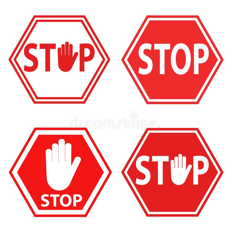 Set of sign stop blocking red on white icon, stock vector illustration. Eps 10 vector illustration