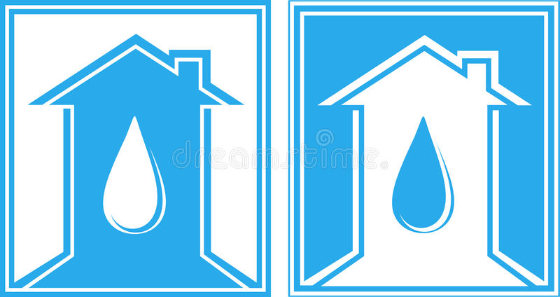 Set Of Sign With Water Drop And House Royalty Free Stock Photography