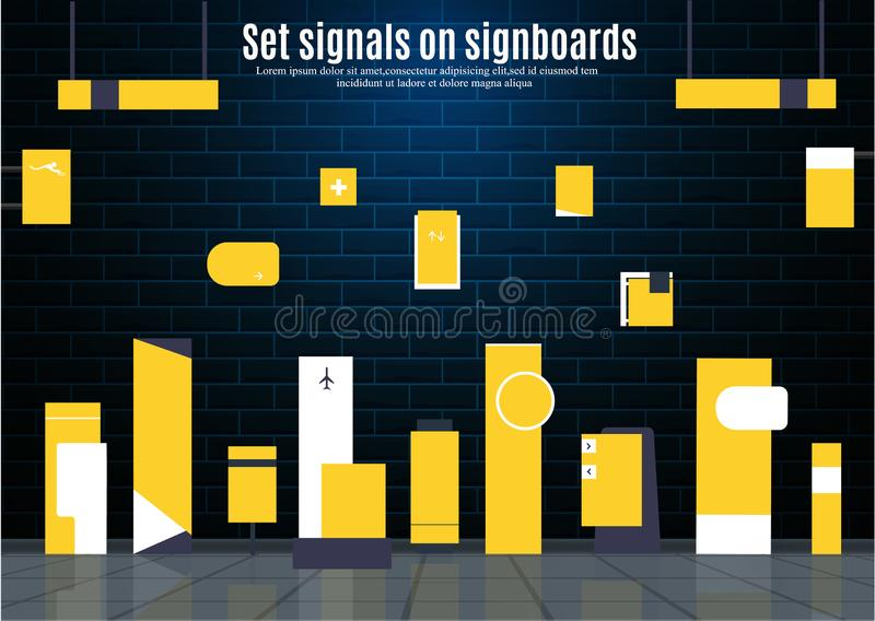 Set signage design. Set signage.Direction,pole, wall mount and traffic signage system design template set.Exterior and interior signage concep. Office exterior stock illustration