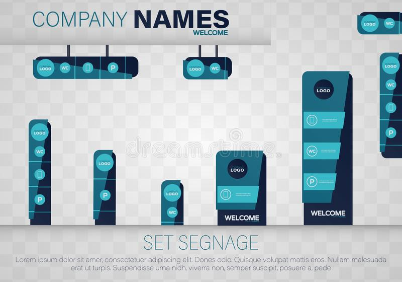 Set signage. Vector. Set signage. A set of signboards for business. A set of outdoor and indoor signs for advertising. Office exterior monument sign, pylon sign vector illustration