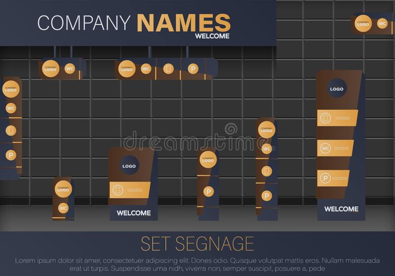 Set signage. Vector. Set signage. A set of signboards for business. A set of outdoor and indoor signs for advertising. Office exterior monument sign, pylon sign royalty free illustration