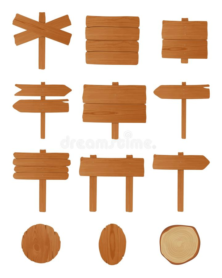 Set of signboards, guideboards and billboards made of unhewn wooden planks nailed together. Bundle of empty signposts. Isolated on white background. Cartoon vector illustration