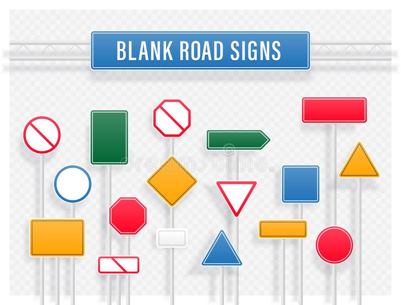 Set of signpost, sign road and guidepost. For transport illustration. Blank street traffic and road signs vector set isolated stock illustration