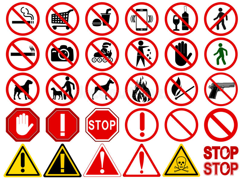 Set Of Signs For Different Prohibited Activities Stock