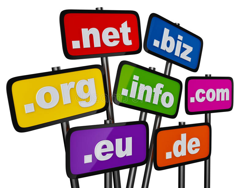 Set of signs with domains as buttons. For searching in the Internet and social networks on a white background stock illustration