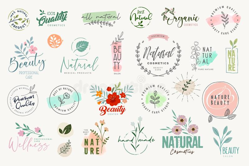 Set of signs and elements for beauty. Natural and organic products, cosmetics, spa and wellness. Vector illustrations for graphic and web design, marketing royalty free illustration