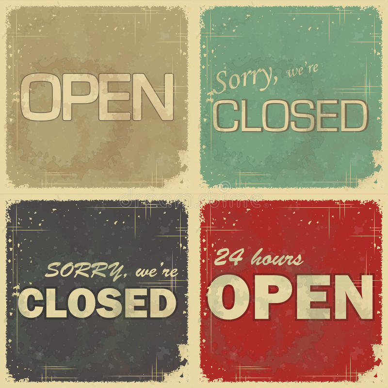 Set of signs: open - closed - 24 hours royalty free illustration