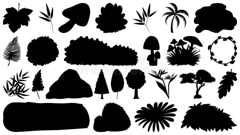 Set of sihouette isolated objects theme - plants. Illustration vector illustration