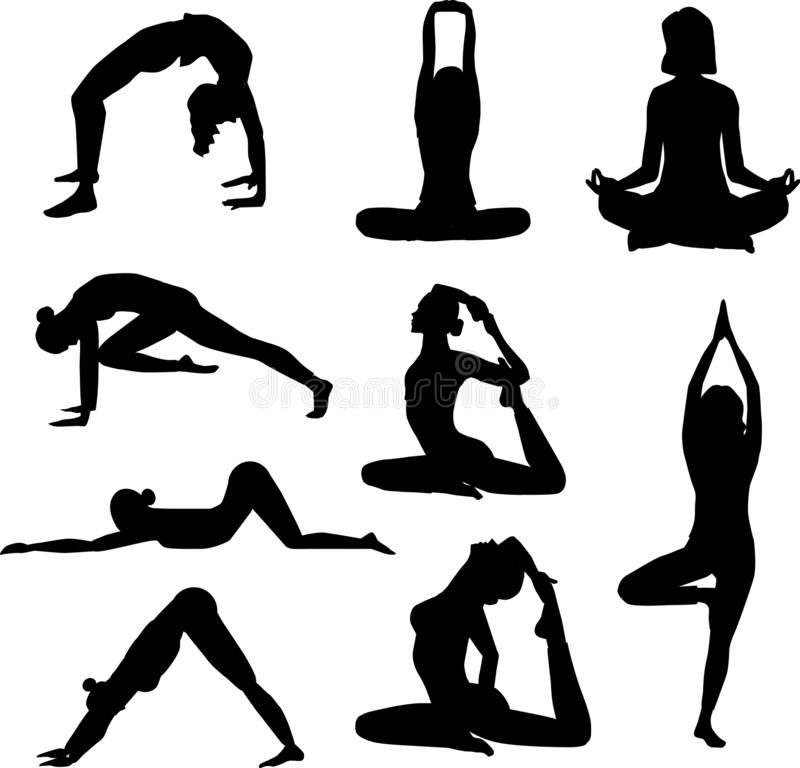 Set of silhouets of different positions in yoga stock image
