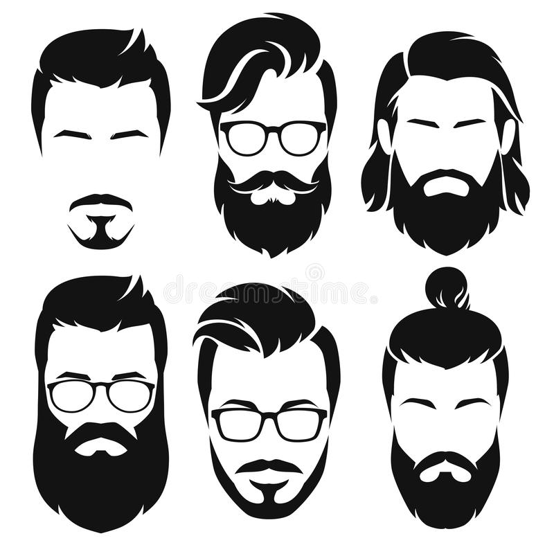Hipsters men faces collection. Vector illustration. Set of silhouette bearded men faces hipsters style with different haircuts. Vector illustration stock illustration