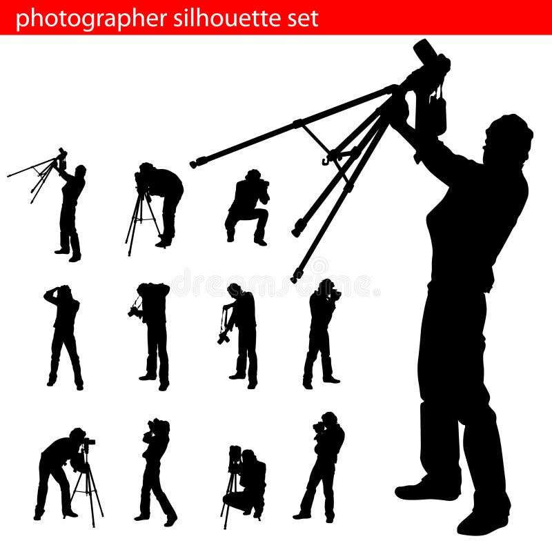 set silhouette för fotograf royaltyfri illustrationer