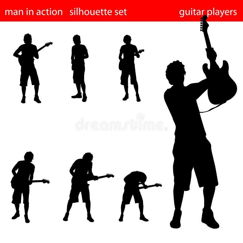 set silhouette för gitarrspelare stock illustrationer