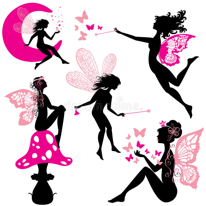 Set of silhouette fairy girls with butterflies. And stars isolated on white background stock illustration