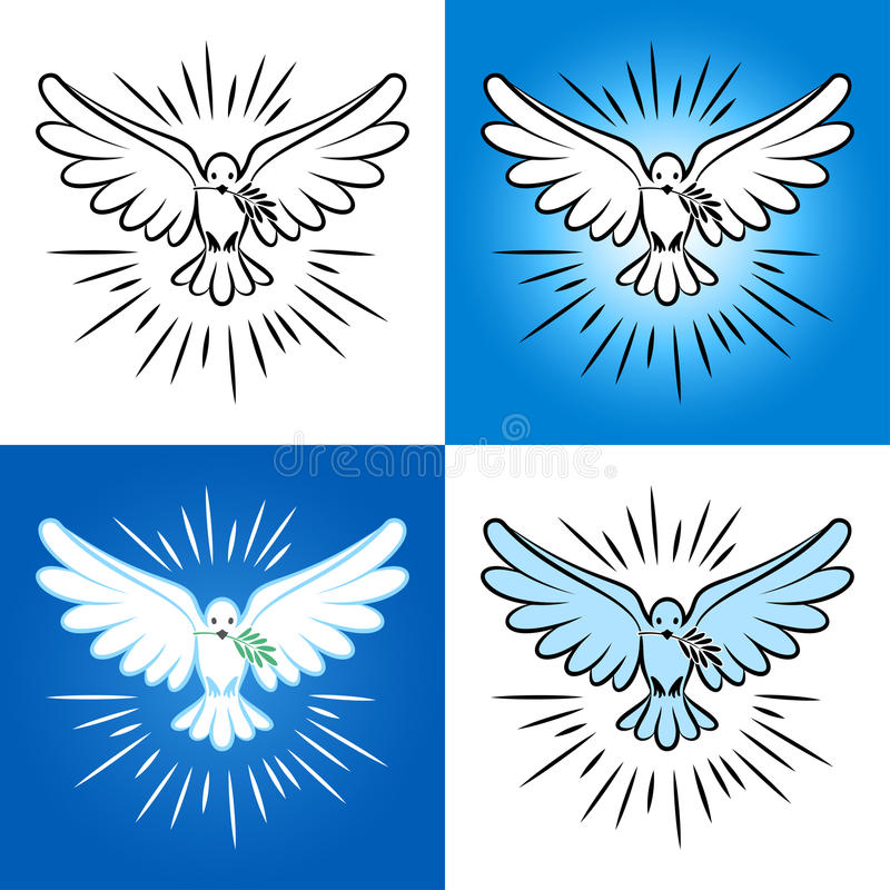 Set of silhouette of a flying dove with olive branch. White dove royalty free illustration