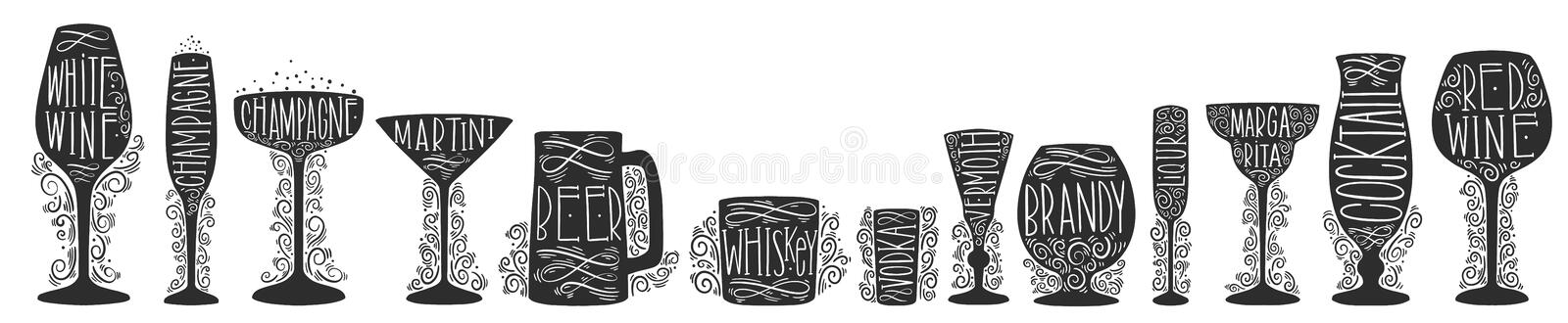 Set of silhouette images of glass glasses for different drinks. Shape stemware lettering text vector illustration
