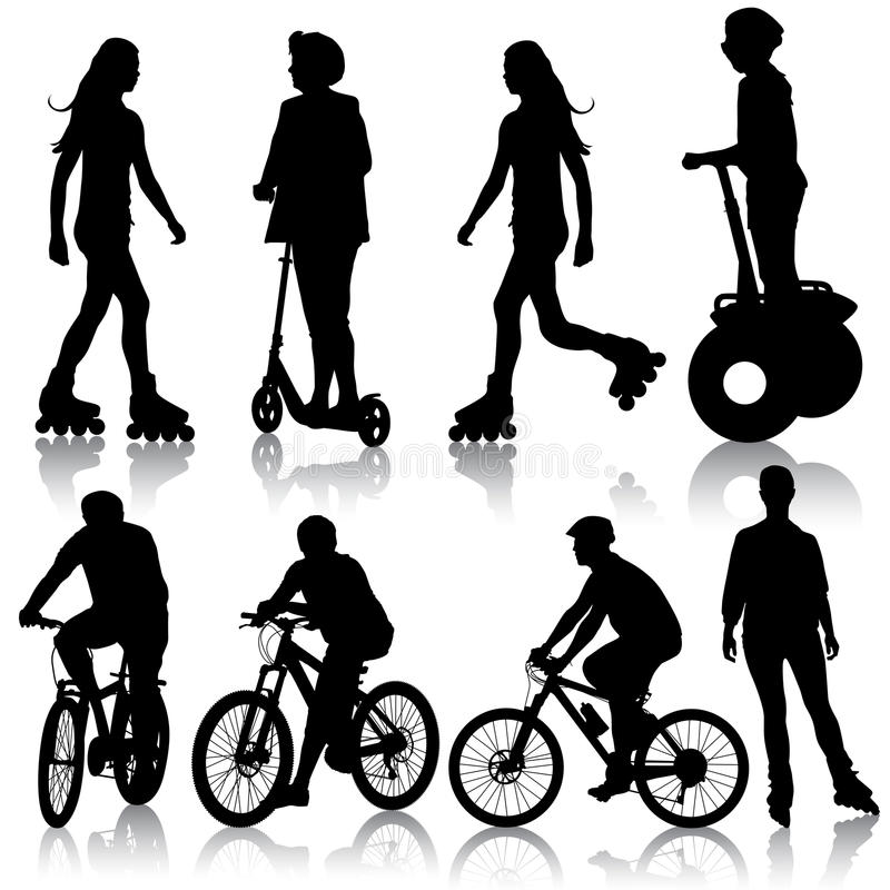 Free Set Silhouette Of A Cyclist. Vector Illustration. Royalty Free Stock Photo - 37847005