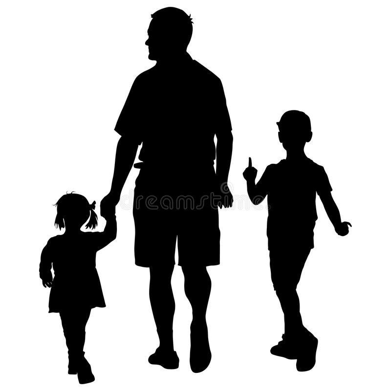 Free Set Silhouette Of Happy Family On A White Background. Vector Illustration. Royalty Free Stock Image - 84451836