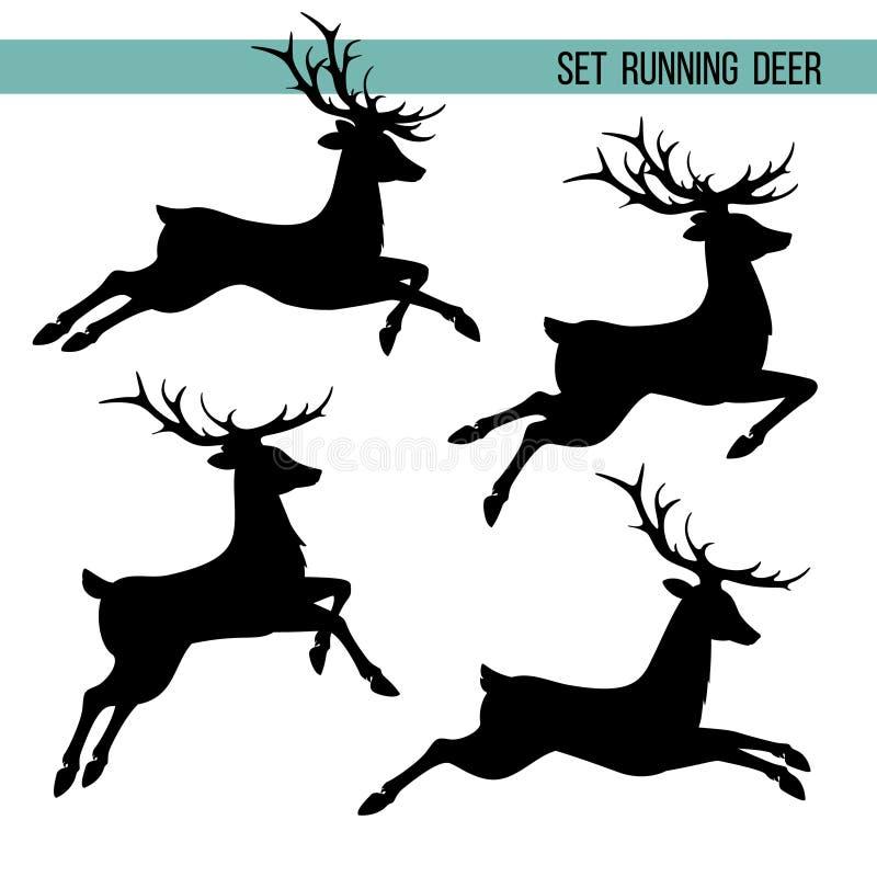 Set silhouette of running deer stock illustration
