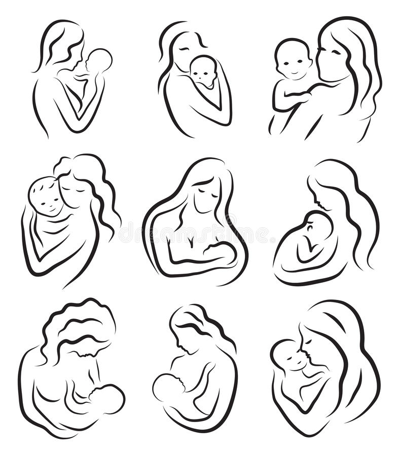 Line Art Baby : Set silhouette sketch mother and child holding a