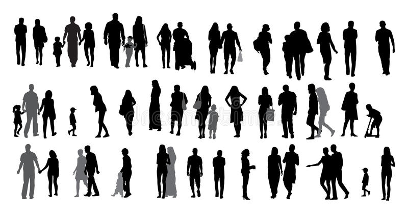 Set of Silhouette Walking People and Children. vector illustration
