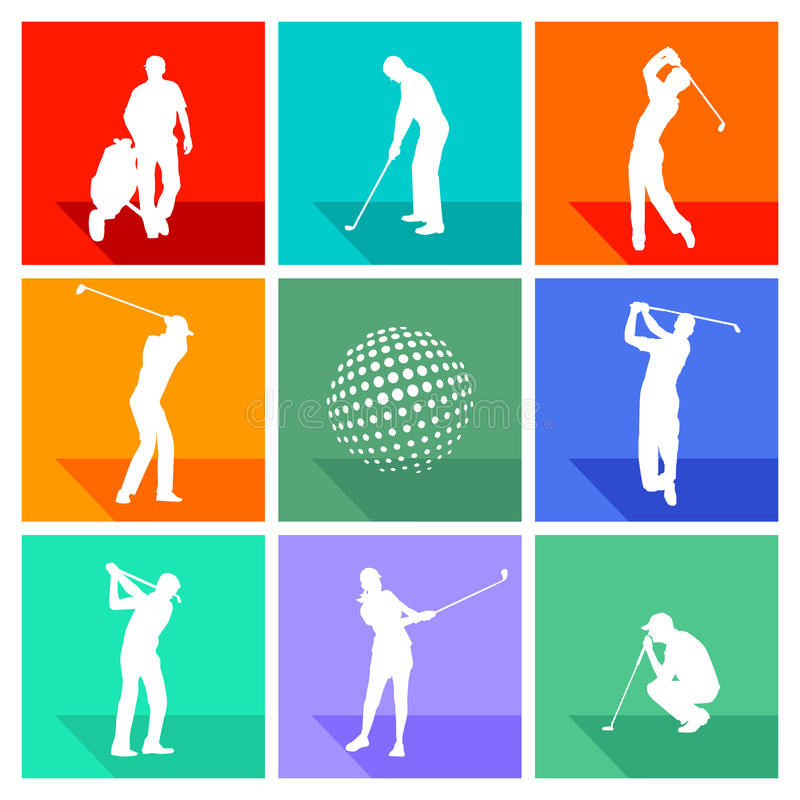 Set of silhouetted golf signs. Set of white silhouetted golf signs on different colored backgrounds royalty free illustration