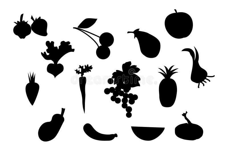 set silhouettegrönsak för frukt royaltyfri illustrationer