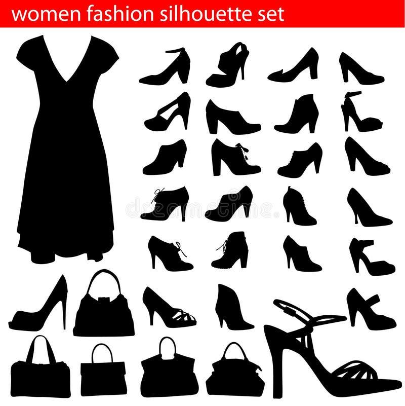 set silhouettekvinnor för mode stock illustrationer