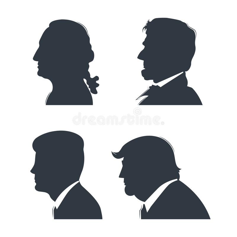 Set Of Silhouettes American Presidents. Stock Vector - Illustration of  business, closeup: 142771124