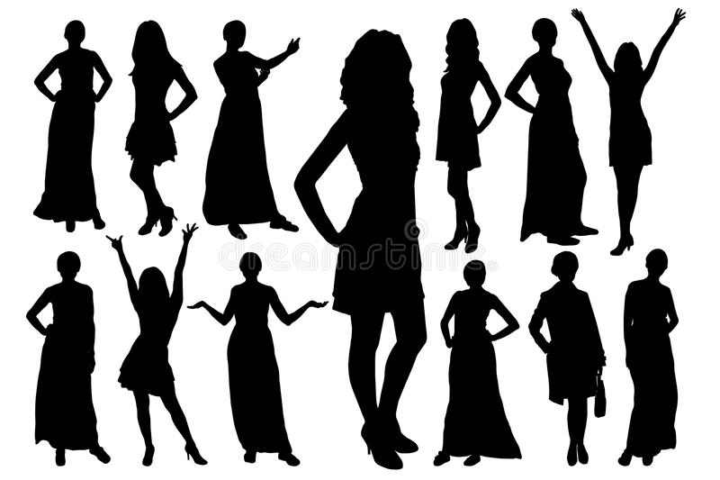 Set of silhouettes of beautiful model girls in different poses. Vector. royalty free illustration