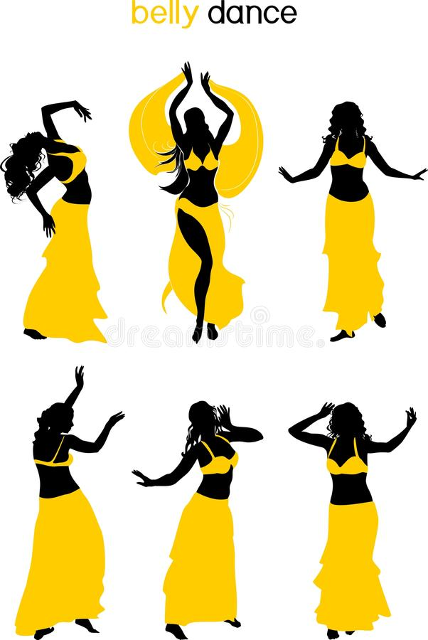 Set of silhouettes of belly dancers in yellow bedlah. On white background vector illustration