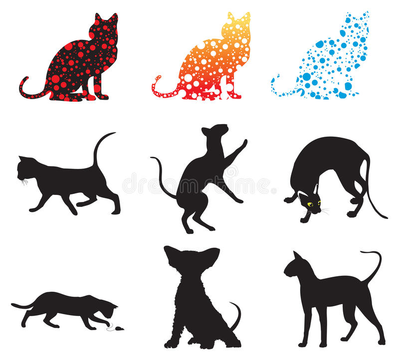 Set of silhouettes of cats. Set of nine black silhouettes of cats: isolated illustration royalty free illustration