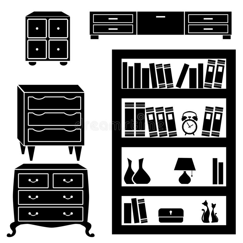 Set silhouettes of cupboard, chests and bookshelf vector illustration
