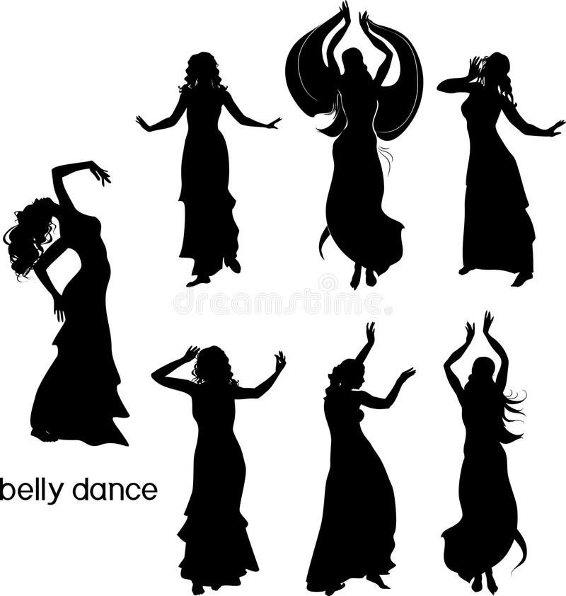 Set of silhouettes of dancers of belly dance. On white background royalty free illustration