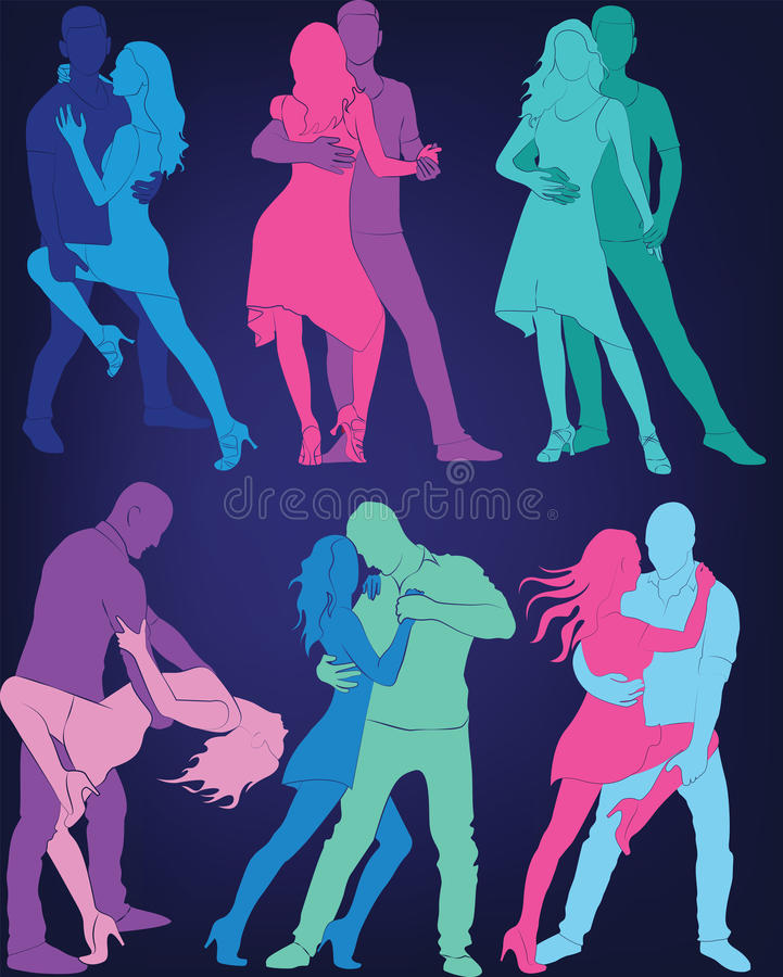 A set of silhouettes of a dancing couple. Social dances. A set of silhouettes of a dancing couple royalty free illustration