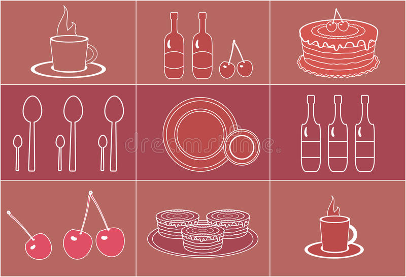 Set of silhouettes dessert objects stock illustration