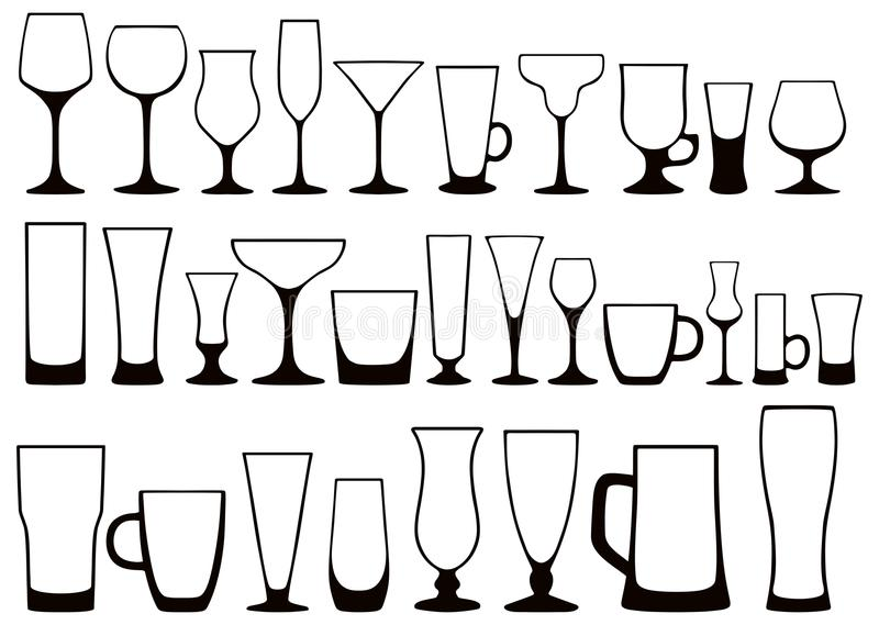 Set of silhouettes of different glasses for drinks. Vector. Vector set of black and white silhouettes of glass glasses for alcoholic and nonalcoholic, hot and stock illustration