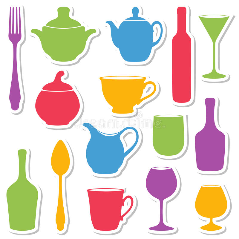 Download Set Of Silhouettes Dishes. Royalty Free Stock Photo - Image: 20461085