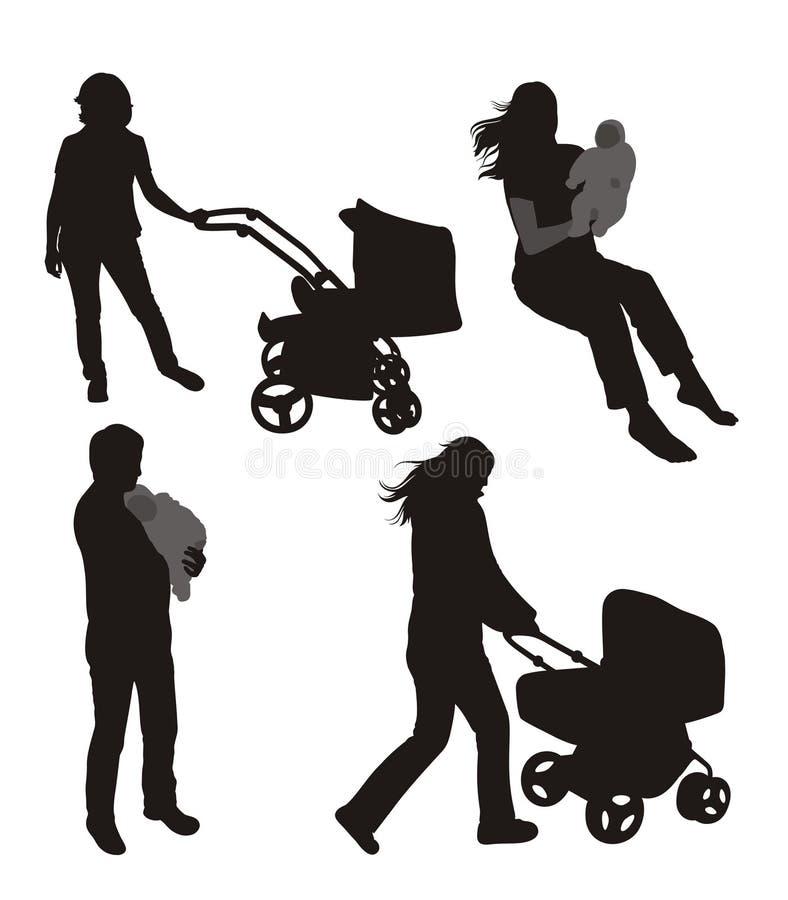 set silhouettes för familj arkivfoto
