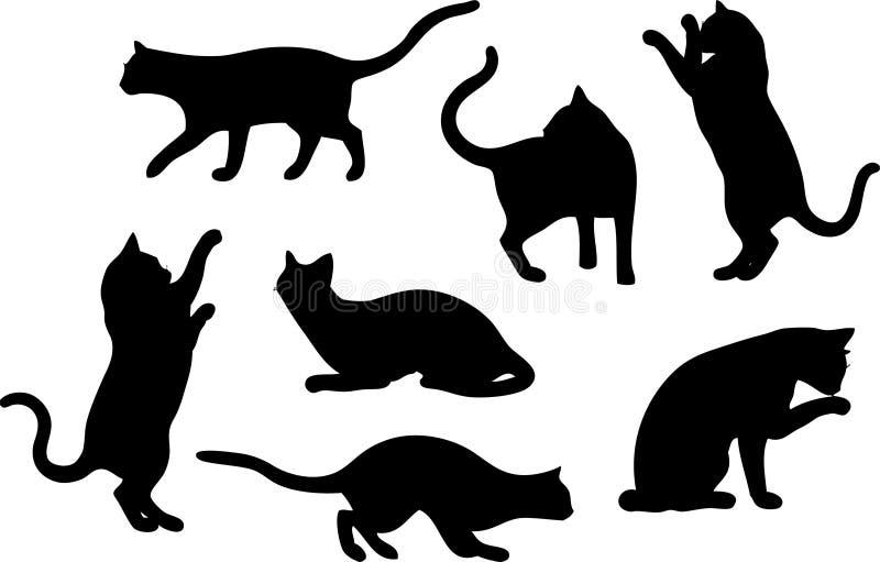 set silhouettes för katt stock illustrationer