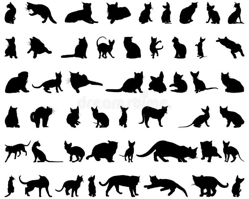 set silhouettes för katt royaltyfri illustrationer