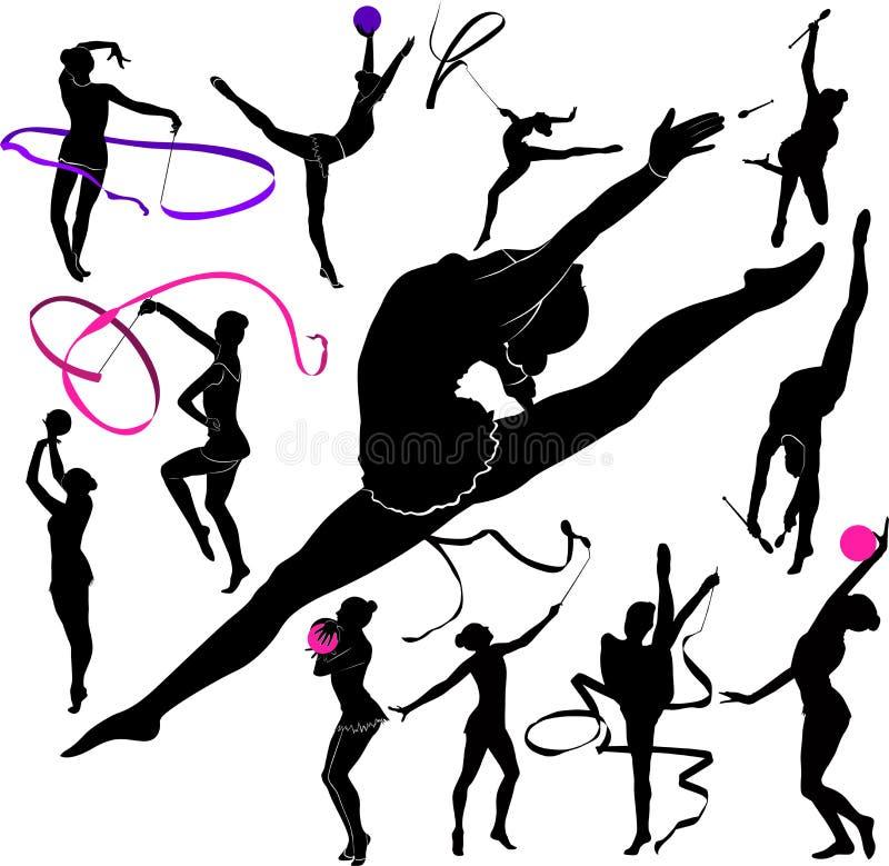 Set of silhouettes girl gymnast athlete isolated on white background royalty free illustration
