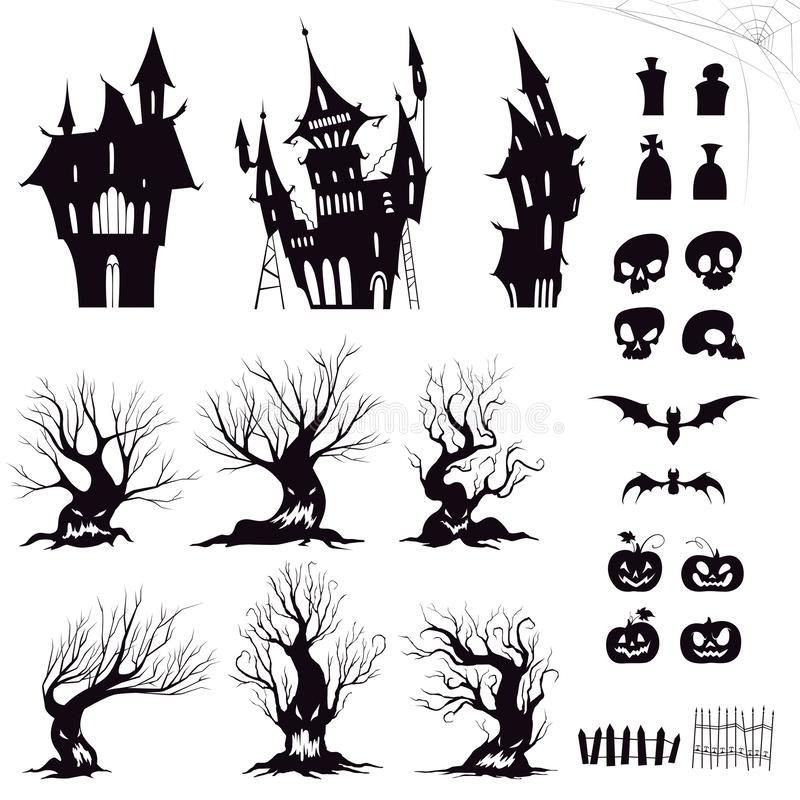 Set of silhouettes for halloween gloomy house, sinister trees, fences, graves, skulls, pumpkins and bats. Vector illustration royalty free illustration