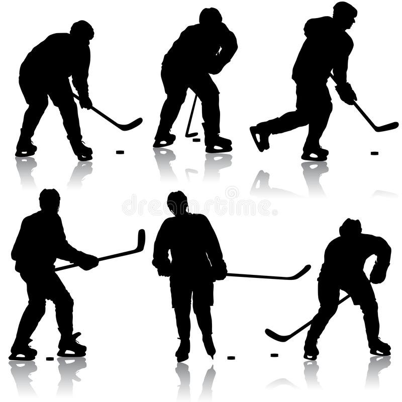 Set of silhouettes hockey player. Isolated on white royalty free stock image