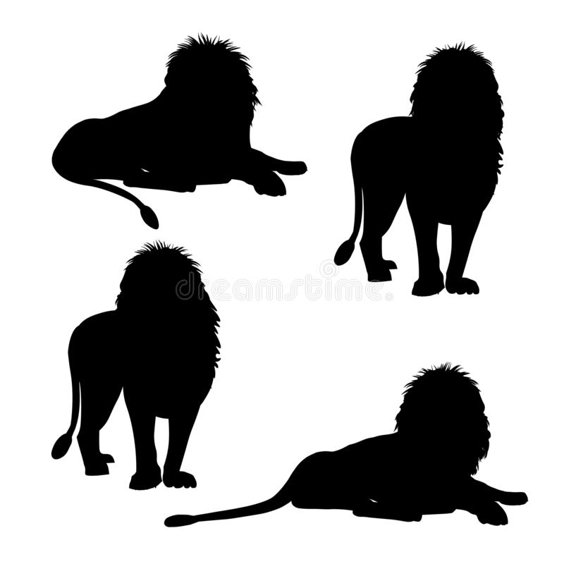 Set of silhouettes of lion vector illustration