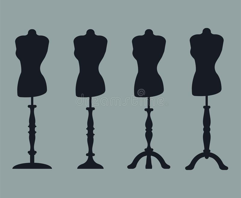 Set of 4 silhouettes of mannequins on carved legs. stock illustration