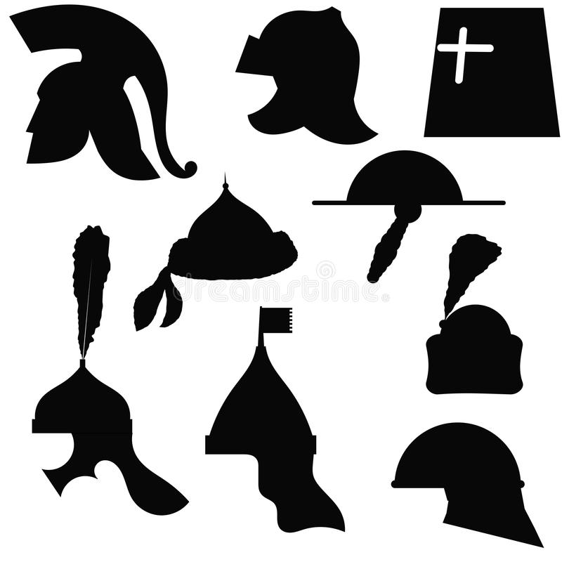 A set of silhouettes of medieval military helmets stock images
