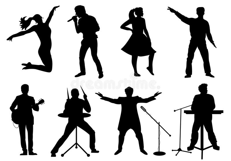 Set of silhouettes of musicians, singers and dancers isolated on white. Vector illustration vector illustration