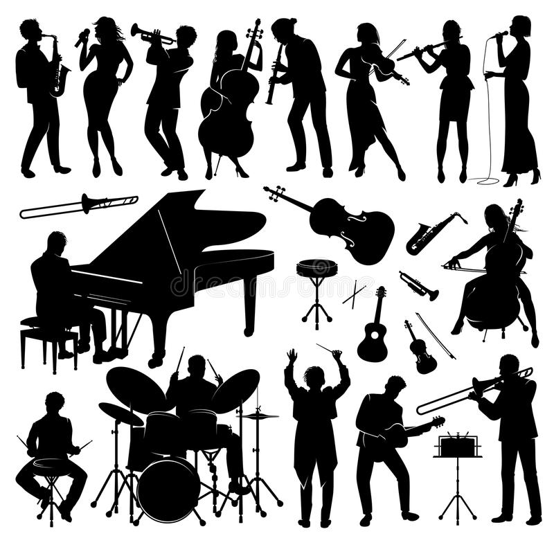 Set of silhouettes. Set of musicians with their instruments silhouettes royalty free illustration