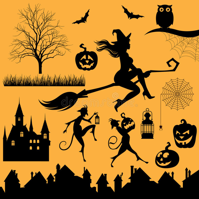 Set silhouettes of objects and characters on a Halloween theme vector illustration